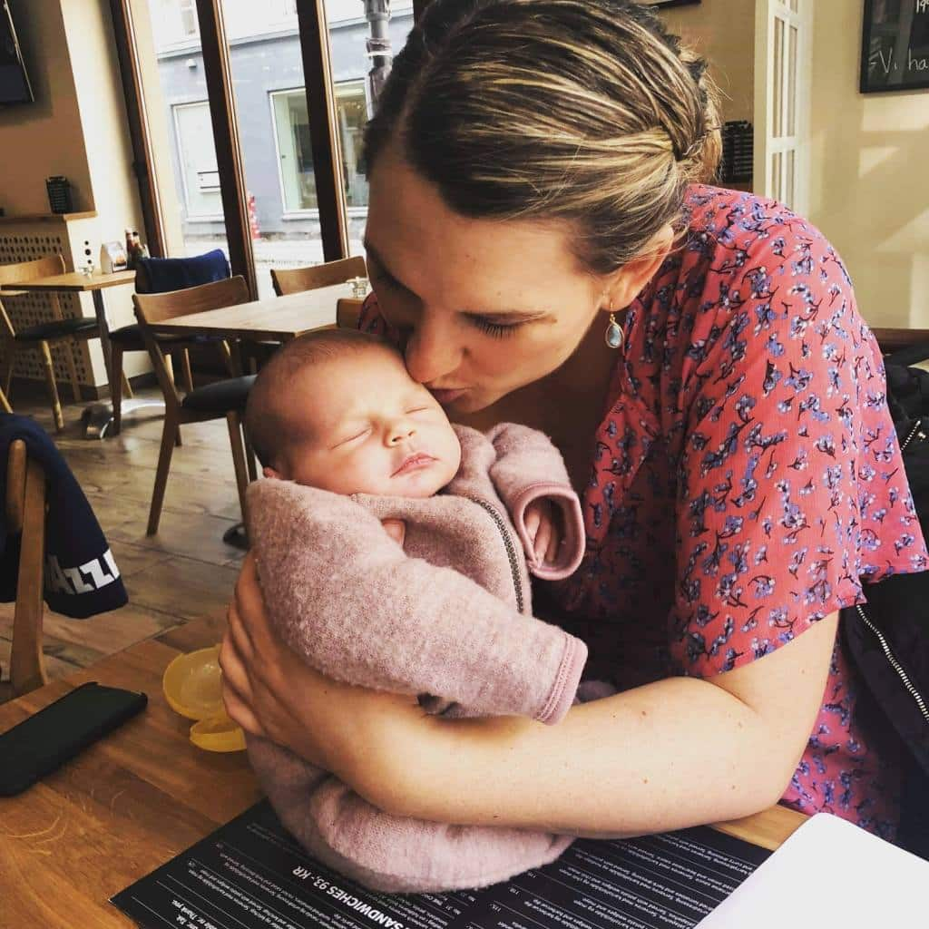 Mette med sin baby